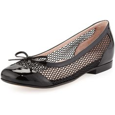 Taryn Rose Blanche Cap-Toe Net Ballerina Flat (150 CAD) ❤ liked on Polyvore featuring shoes, flats, black, cap toe shoes, black shoes, taryn rose flats, black ballerina shoes and skimmer flats