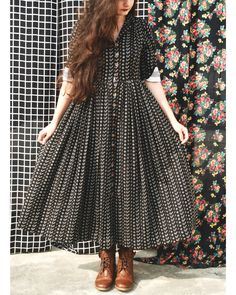 Black Georgette Checeked Anarkali kurti