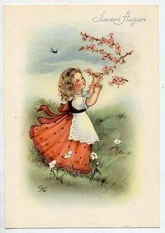 Springtime Girl with Flowers Vintage PC Circa 1950