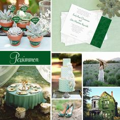 "#Wedding Inspiration featuring Evermine's ""Persimmon Flower"" Invitation Collection in green."