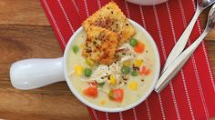 This chicken pot pie soup with pie crust crackers recipe from Frigidaire is a nice spin on the traditional dish. http://www.frigidaire.com/Experience-Frigidaire/Time-Is-On-Your-Side/Quick--Easy-Recipes/Chicken-Pot-Pie-Soup/