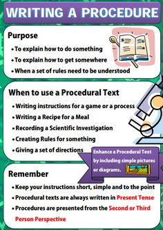 2 poster series on writing a procedure text. Writing Posters, Writing Genres, Writing Anchor Charts, Writing Lessons, Writing Resources, Writing Activities, Writing Skills, Grammar Lessons, Writing Workshop