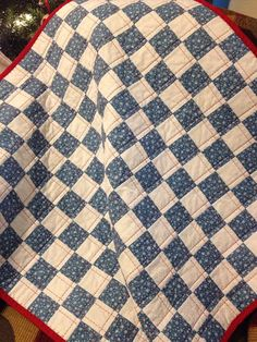 A 31 X 32 Postage Stamp Quilt In Slate Blue by WrappingYouInWarmth, $50.00