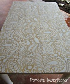 Paisley Stenciled Table - sand table, stencil on paint, then stain.
