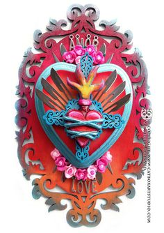 Sacred Flaming Heart with Flowers and Sharp by catboxartstudio