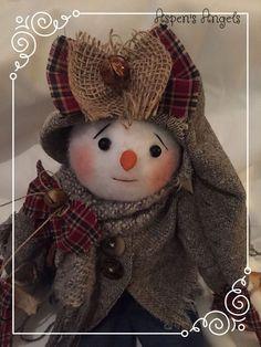"Primitive Folk Art Snowman Bear Doll  ""Charlotte"" Antique Wool Aspen's Angels #NaivePrimitive #AspensAngels"