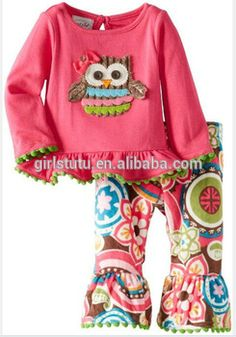 Modern Fashion Kids Wear Bulk Wholesale Designer Owl Top And Casual Ruffle Floral Pant Girls Thanksgiving Outfit