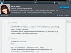 "LinkedIn iPad App - Press ""in"" to see your profile"