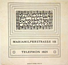 "Business card of the fashion salon  ""Schwestern Flöge"" Design: Jutta Sika, 1905"