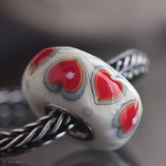 GlassBonBon Heartbeat  SRA Lampwork Bead  fits all european charm bracelets  BHB fully cored