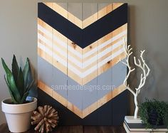 Modern Chevron wood wall art sign by SamBeeDesigns on Etsy