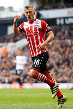 James Ward-Prowse of Southampton celebrates scoring his sides first goal during the Premier League match between Tottenham Hotspur and Southampton at White Hart Lane on March 2017 in London, England. Southampton Football, Southampton Fc, James Ward Prowse, White Hart Lane, Premier League Matches, Tottenham Hotspur, Manchester City, Football Players, London England
