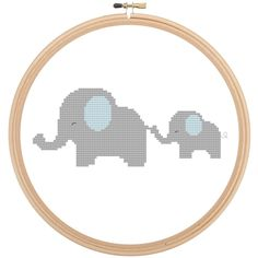Adorable Cute Mama and Baby Elephant Cross Stitch Pattern!