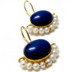 Blue and gold lapiz and pearl earrings
