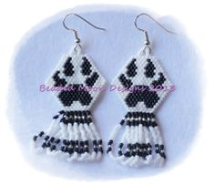 wolf paw fringed earrings ~ https://www.facebook.com/pages/Beaded-Moon-Designs/229870373249