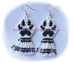 wolf paw fringed earrings ~ facebook.com/Beaded Moon Designs
