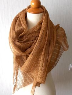Scarf Linen Shawl Knitted Natural Summer Wrap in Brown