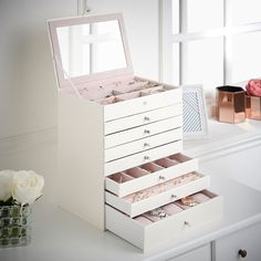 Beautify 8 Tier Faux Leather Jewellery Box Organiser with 7 Drawers, Ring Holders, Watch Storage & Mirror - White Snake Skin Print with Pink Velvet Lining