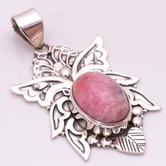 925 Solid Sterling Silver Pendant, Natural RhodochrositHandcrafted Jewelry CP227…