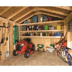 Image result for best layout for storage shed for riding lawn mower and work table