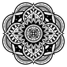 indian mandala: black and white mandala Illustration