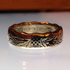 Croatian Kuna Coin Ring. WOW! I love the recessed design....not like the typical coins you'd find.