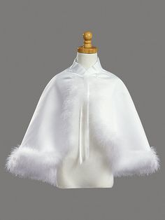 White Satin Communion Cape with Marabou (Feather) Trim Pageant Dresses, Quinceanera Dresses, Tutu, Girls Cape, Girls Communion Dresses, Cheap Flower Girl Dresses, Flower Girls, Girls Dresses, Lace Bolero