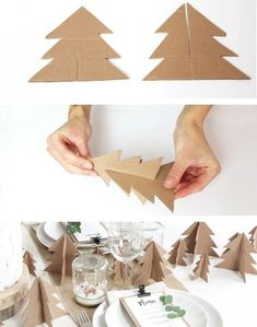 10 crafts to make a cardboard tree - Xmas - noel Cardboard Tree, Cardboard Christmas Tree, Felt Christmas Decorations, Christmas Mood, Christmas Crafts For Kids, Simple Christmas, Holiday Crafts, Origami Christmas, Scandinavian Christmas Decorations