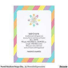 Shop Pastel Rainbow Stripe Diaper Pin Baby Announcement created by NoteableExpressions.