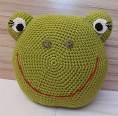 Crochet frog pillow