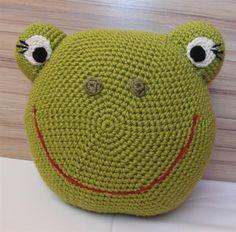Crochet frog pillow