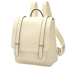 Coofit® Preppy Vintage School Shoulder Bags backpack for teen girls White