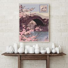 Counted Cross Stitch KIT Stamp by Kawase Hasui by TheArtofCrossStitch on Etsy. Also available in PDF. #crossstitch