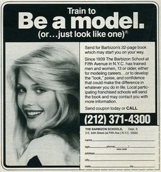 Barbizon modeling school advertisement - these were always in the back of Seventeen Magazine.