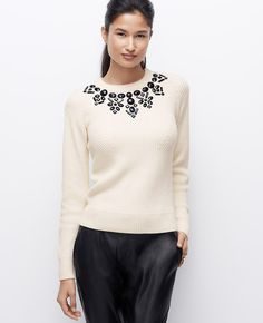 Midnight Flake Sweater, embellished with polished stones for a touch of holiday sparkle l Ann Taylor