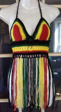 Rasta flag colors Hippie boho festival Hooping crochet fringe halter top. $49.95, via Etsy.