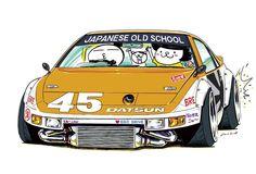 jdm cars ozizo japanese mame cartoon z32 datsun drawings cool nissan drift stickers lowdown drifting rock artwork farmofminds tuning slammed