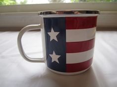 Enamel Flag Coffee Cup American Stars & Stripes Metal Tea Cup Red White Blue