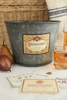 Vintage galvanized wine bucket with French labels @Jacqueline Ruiz you can add your own type of labels, very easy!