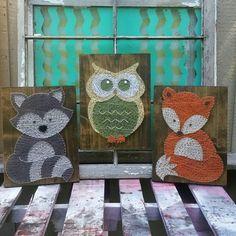 $159 Etsy Woodland Collection Nursery Art, String Art Animals, Raccoon Nursery Art, Owl Decor, Fox Wall Art, Woodland Baby Shower Gift,  Handmade by NailedItDesign.etsy.com