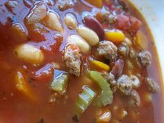 Pasta Fagioli....my favorite Italian soup that I have mastered on the stove....   Ingredients:  2lbs  sweet Italian sausage, Red kidney beans, cannelini beans, carrots, celery, onions, 14oz can of crushed tomatoe and basil sauce, water, oregano, basil, salt and pepper and love and patience... eat with a side salad of choice and you cant forget a slice of Italian bread with butter...