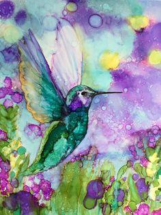 Humming Bird Alcohol ink 11X14 PRINT by HeidiStavingaStudio