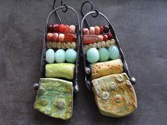 Chrysoprase Mexican opal carnelian earrings by DiPiazzaMetalworks