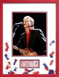 Custom framed photo of Paul McCartney with ticket.
