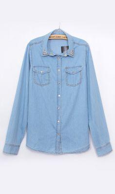 Long-sleeved denim shirt 9200 Blue nice