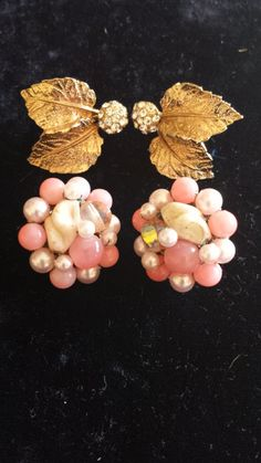 Vintage Chip On Earring Duo  Pink Beads and by VintageRoseandLace