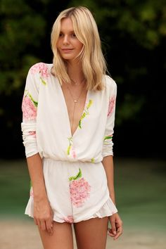 Stone Cold Fox Floral Romper Short seen on Tuula