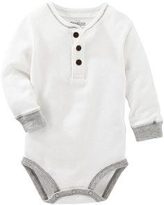 NWT OshKosh B/'Gosh Infant Boys Long Sleeve Henley Bodysuit w// Logo on Sleeve