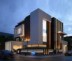 Modern architecture house design with minimalist style and luxury exterior and interior and using the perfect lighting style is inspiration for villas mansions penthouses Modern Architecture House, Facade Architecture, Residential Architecture, Villa Design, Facade Design, Exterior Design, House Front Design, Modern House Design, Contemporary Design