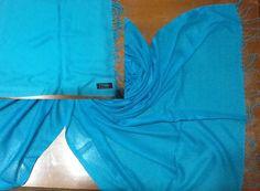 Kaschmir, Cashmere Schal Amira ,Foulard-Echarpe Hijab Hellblau Unifarben